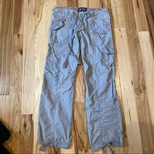VS Pink Gray Cargo Pants Cotton Tie Up Capri